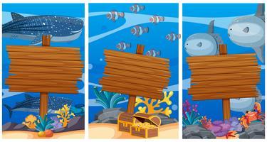 Señales de madera bajo el océano con animales marinos en el fondo