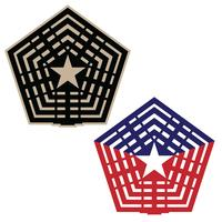Pentagon vector illustration in black and tan, and red white and blue versions