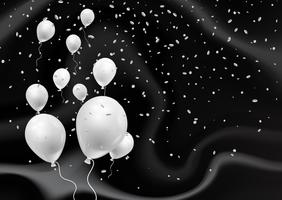 Silver balloons on elegant black marble texture