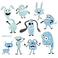 watercolour cute monsters set
