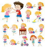 Barn gör olika aktiviteter