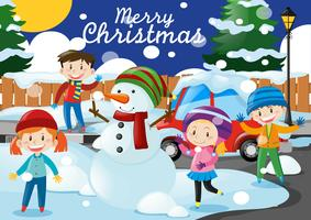 Weihnachtsthema mit Kindern und Schneemann im Dorf