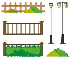 Fences and lamp posts vector