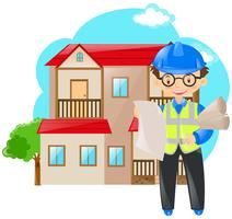 Ingenieur, der Pläne des Hauses hält