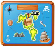 Ship travelling at sea with map