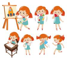 Different actions of little girl in blue