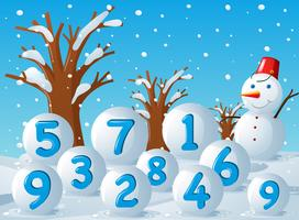 Scene with numbers on snow balls