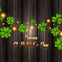 Vektor illustration för St Patrick's Day. Realistisk klöver på en träbakgrund