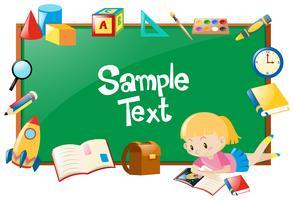 Marco de diseño con niña y muchos objetos escolares.