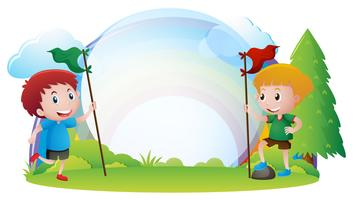Border template with boys holding flags