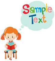 Sample text template with girl reading