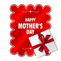 Happy Mothers Day. Vector Mother's Day template with gift box, red bow and long ribbon. Holiday decoration