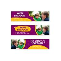 Puple cheerful joyful happy kids daycare childcare banner set in doodle fun style