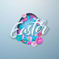 Happy Easter Illustration with Colorful Flower and Paper Cutting Egg Symbol