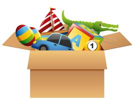 Many toys in brown box