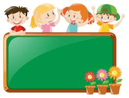 Frame design with kids and flowers