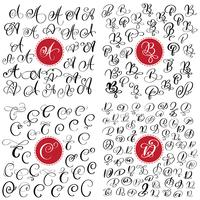 big Set of Hand drawn vector calligraphy letter A, B, C, D