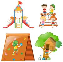 Many kids playing at different play stations vector