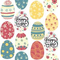 happy Easter day cute colorful eggs pattern seamless