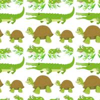 Seamless background with crocodiles and turtles