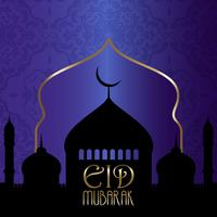 Eid Mubarak background with silhouettes of mosques vector