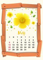 Calendar template with yellow flower for May vector