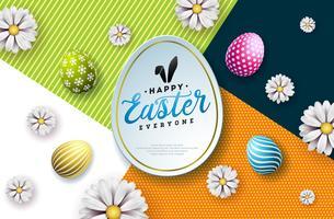 Illustration vectorielle de joyeuses fêtes de Pâques avec oeuf peint, oreilles de lapin et fleur de printemps