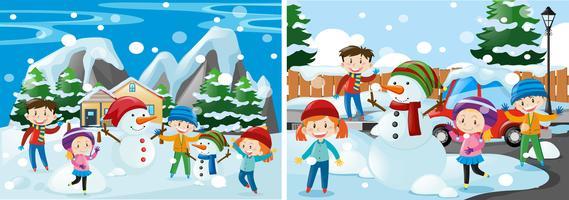 Kinder spielen mit Schnee