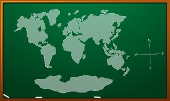 Mapa del mundo en el tablero verde