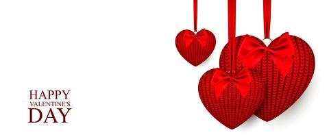 Corazones tejidos para el día de san valentín. Ilustración vectorial sobre fondo blanco.