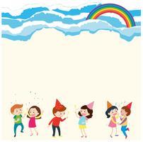 Hintergrundschablone mit Leuten und Regenbogen
