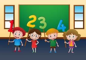 Crianças felizes e números em sala de aula