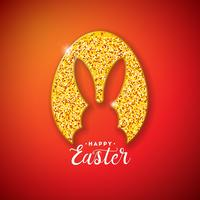 Happy Easter Holiday Design with Rabbit Silhouette in Glittered Egg