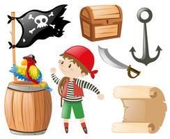 Pirata con molti oggetti e pirata