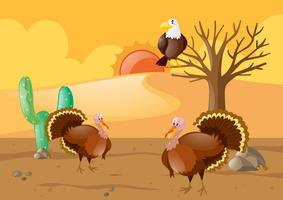 Turkeys and eagle in desert