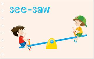 Word card with two boys on see-saw