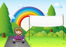 Plantilla de banner con niña conduciendo coche
