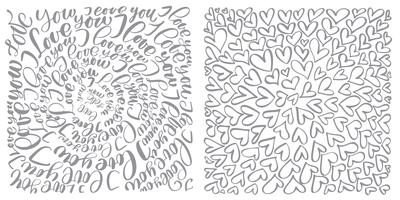 text flourish calligraphy vintage love and hearts