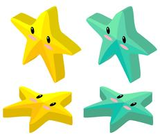 Yellow and green starfish in 3D design