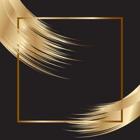 Elegant background with gold frame and brush strokes vector