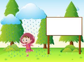 Modèle de signe avec une fille sous la pluie