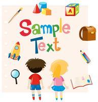 Plantilla de papel con niños y material escolar.