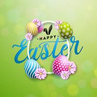 Happy Easter Illustration with Colorful Flower and Painted Egg