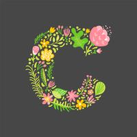 Floral summer Letter C