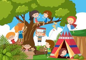 Feliz, crianças, tocando, parque