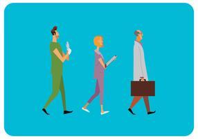 Vector de personajes de salud caminando