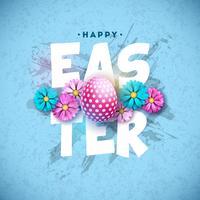 Joyeuses Pâques design avec oeuf peint et fleur de printemps sur fond bleu.