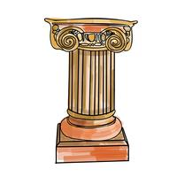 Gestileerde Griekse kolom van de krabbel Dorische Ionische Korinthische kolommen