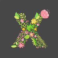 Floral summer Letter X