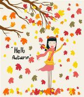 Vector a una niña de pie debajo de las hojas secas que caen del árbol en la temporada de otoño, sopla el viento con la palabra Hola otoño